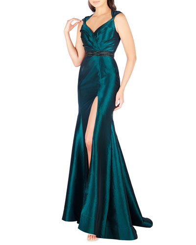 Sweetheart Sleeveless Taffeta Gown with Embellished Waist