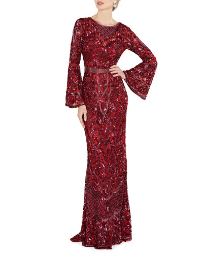 Sequin Bell-Sleeve Column Gown with Open Back