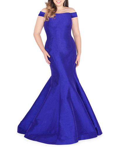 Plus Size Off-the-Shoulder Taffeta Mermaid Gown