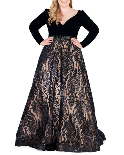 Plus Size Velvet Plunge-Neck Long-Sleeve Ball Gown with Sequined Skirt