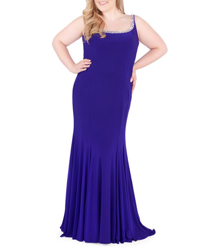 Plus Size Beaded Scoop-Neck Sleeveless Jersey Gown with Corset Back
