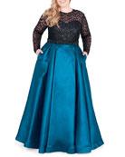 Mac Duggal Plus Size Long-Sleeve Satin Ball Gown