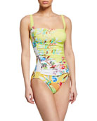 Johnny Was Layne Bandeau One-Piece Swimsuit
