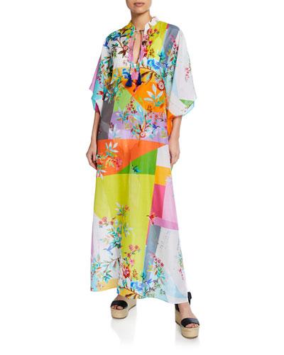 e51fd7e44cd Quick Look. Johnny Was Plus · Plus Size Dreamer Floral-Print Cotton-Silk  Kaftan
