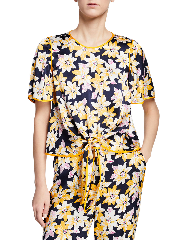 cinq a sept Kristi Floral Tie-Front Crop Top