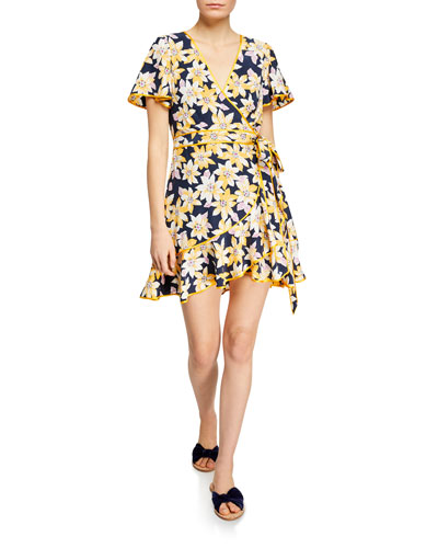 Cameron Floral Silk Flounce Short Dress
