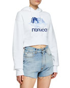Fiorucci Heaven Angel-Graphic Cropped Pullover Hoodie