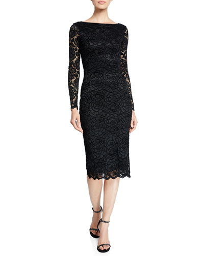9c368773db857 Quick Look. Dress The Population · Emery Long-Sleeve Velvet Lace Midi Cocktail  Dress