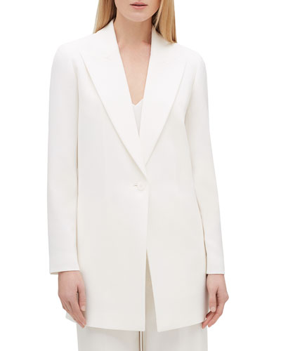 Plus Size Kourt Peak-Lapel One-Button Finesse Crepe Jacket
