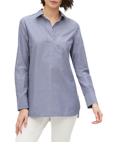 Plus Size Venida Striped Long-Sleeve Cotton Blouse