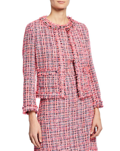 multi tweed open-front jacket