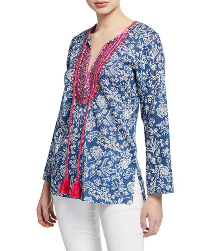 b8f58fabfc5 Blue Long Sleeve Tunic | Neiman Marcus