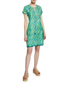 Bella Tu Abby Cap-Sleeve Shift Dress with Hand-Beaded