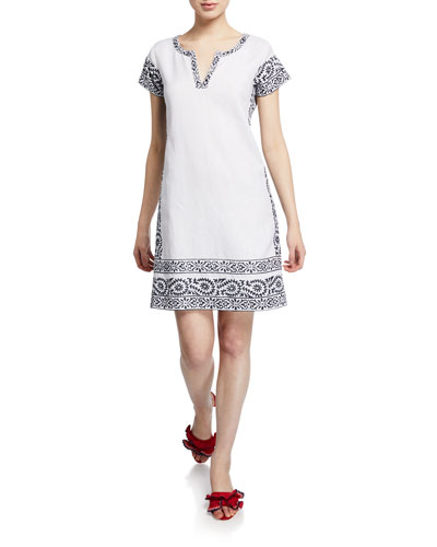 facd72b4fd Quick Look. Bella Tu · Finley V-Neck Cap-Sleeve Linen Dress with Hand-Embroidered  Trim