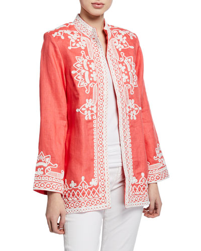 Ceci Open-Front Embroidered Jacket