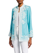 Bella Tu Ceci Open-Front Embroidered Linen Jacket