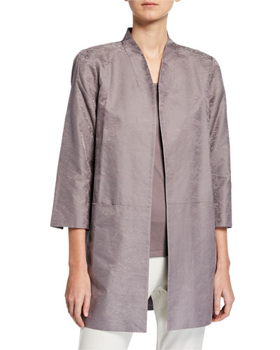 Petite Marble Satin Jacquard Open-Front 3/4-Sleeve Jacket