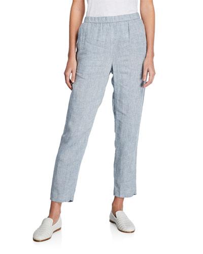 Yarn-Dye Hanky Linen Straight-Leg Pants