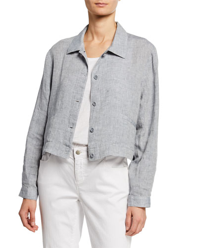 Button-Front Yarn-Dye Hanky Organic Linen Crop Jacket