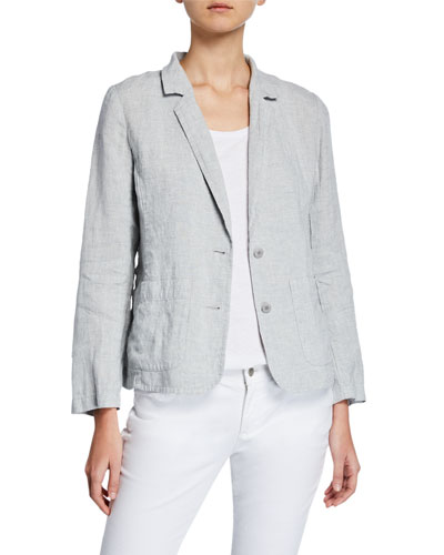 Shaped Two-Button Metallic Linen Blazer