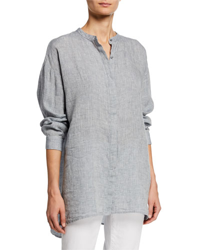 Mandarin Collar Button-Front Long-Sleeve Hanky Linen Shirt