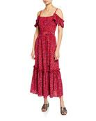 Derek Lam 10 Crosby Cold-Shoulder Printed Cami Dress