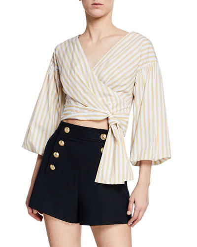 f62a0ddfde6 Quick Look. Derek Lam 10 Crosby · Striped Bell-Sleeve Cropped Tie-Waist  Blouse