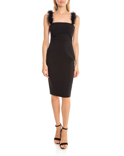 Romy Square-Neck Cocktail Dress w/ Feather Straps