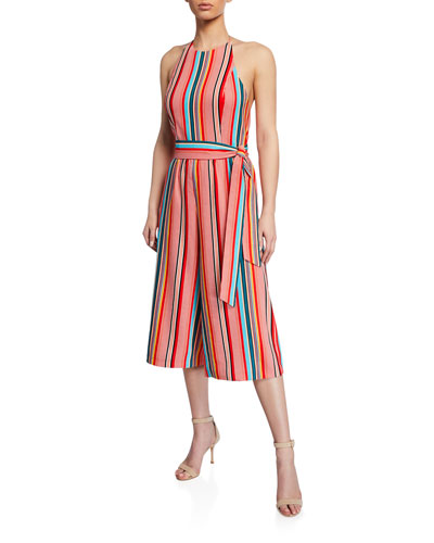 Lucie Striped Cropped Wide-Leg Halter Jumpsuit