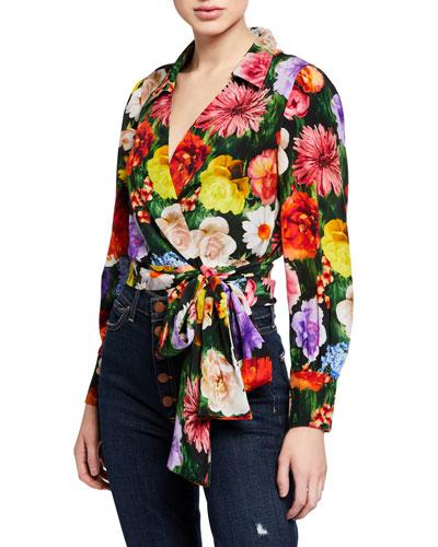 Omega Floral-Print Blouson-Sleeve Wrap Top