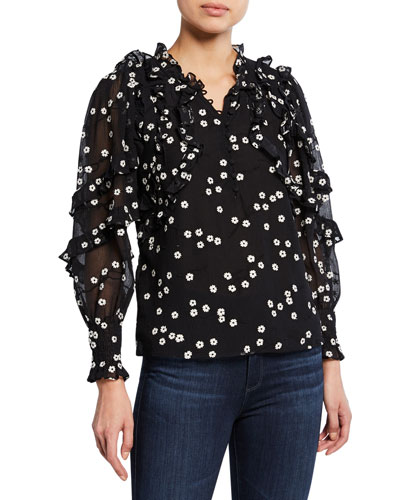 Alessandra Floral Long-Sleeve Ruffle Top