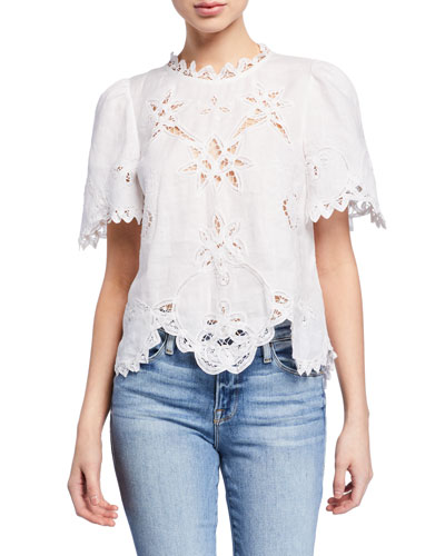 Terri Embroidered Short-Sleeve Top