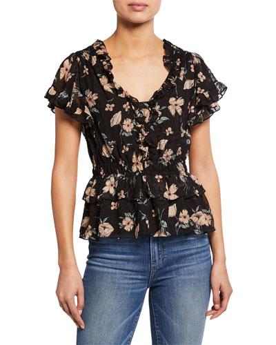 Daniella Floral-Print V-Neck Short-Sleeve Ruffle Top