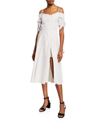 f75113dd9d14 Quick Look. Jonathan Simkhai · Off-Shoulder Slit-Front Midi Dress