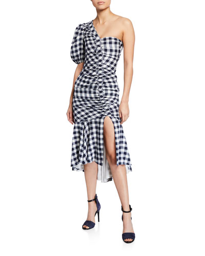 Lux Twill One-Shoulder Gingham Dress