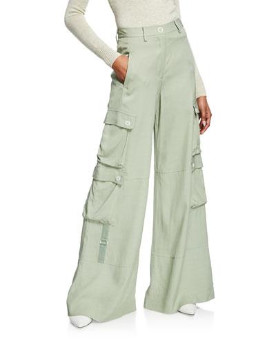 Lux Twill Wide-Leg Cargo Pants