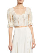 Jonathan Simkhai Mixed Knit Lace Puff-Sleeve Bustier Top