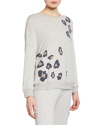 Oversized Leopard-Print Crewneck Seamed Sweatshirt
