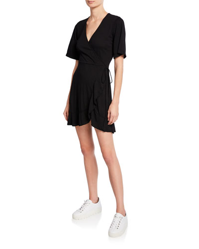 5965d42470902 Quick Look. Monrow · Short-Sleeve Ruffle-Hem Mini Wrap Dress