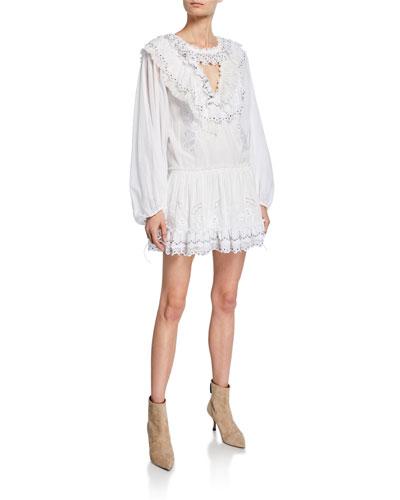 Romantic Mini Dress with Stud Embellishments