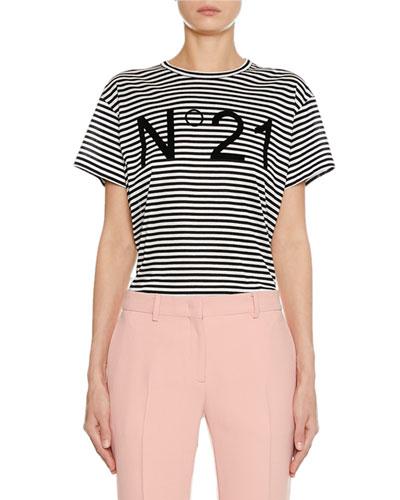 Striped Crewneck Short-Sleeve Logo T-Shirt