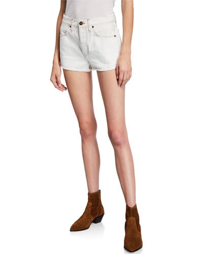 Double-Needle Western Denim Shorts
