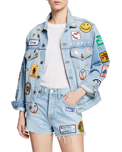 495080952c Quick Look. RE DONE · Embellished Distressed Denim Jacket. Available in Blue