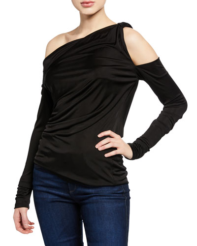 Serena Cold-Shoulder Long-Sleeve Jersey Top