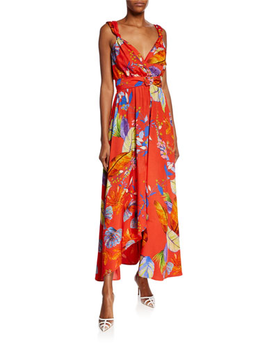Regan Printed Twill Maxi Dress
