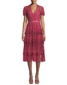 Needle & Thread Layered Tulle Embroidered Midi Dress