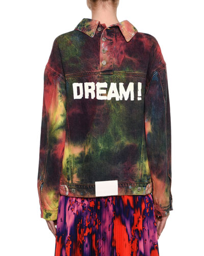 Oversized Tie-Dye Denim Jacket