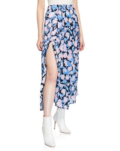 Sonam Floral-Print Asymmetric Midi Skirt