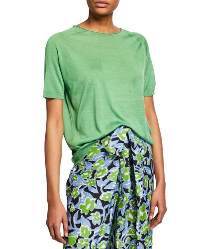 Kyoko Silk Round-Knit Crewneck Tee, Green