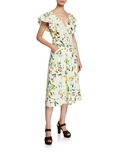 18dca10161c Quick Look. Tanya Taylor · Inez Belted Floral Flutter-Sleeve Midi Dress.  Available in White Pattern